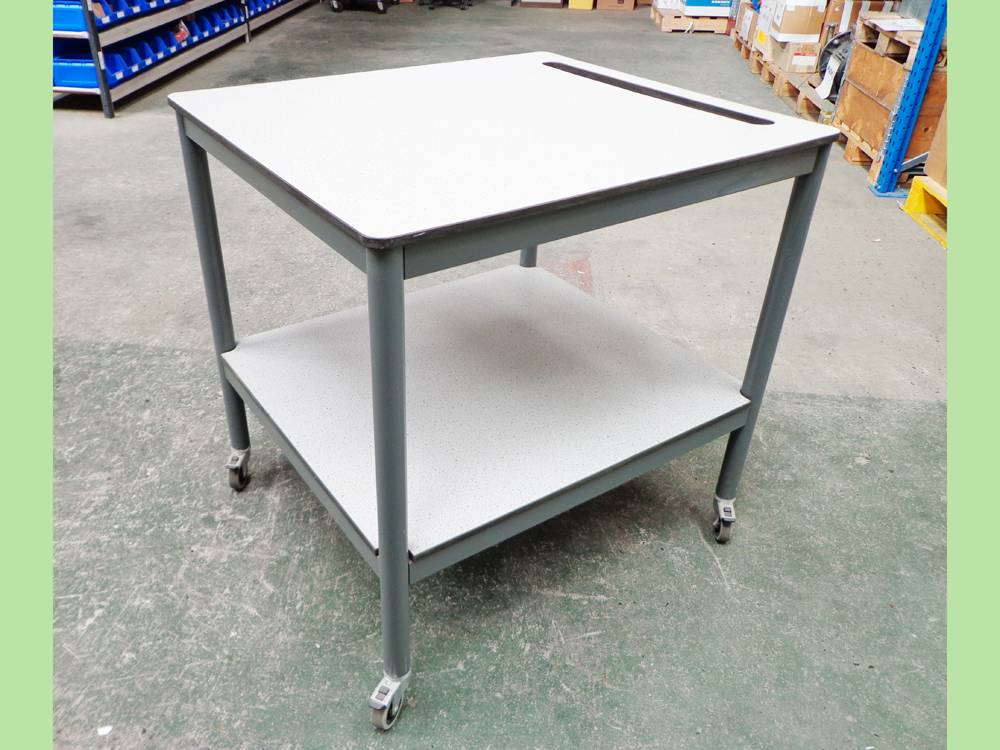 Proprietary Two Tier Mobile Laboratory Bench with Grey Trespa Type Worktop and Shelf.