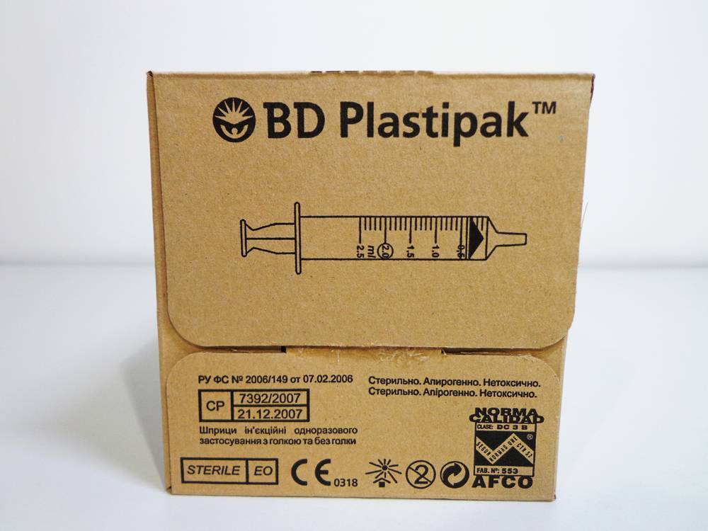 Product BD Plastipak 2ml Concentric Luer-Slip Three-Piece Syringe