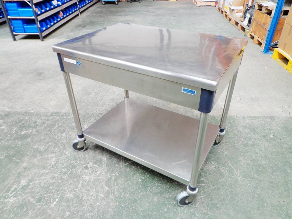 Bonnet Euro Tabl\'in Series 200 A6 Hygienic Quality Stainless Steel Mobile Preparation Table.