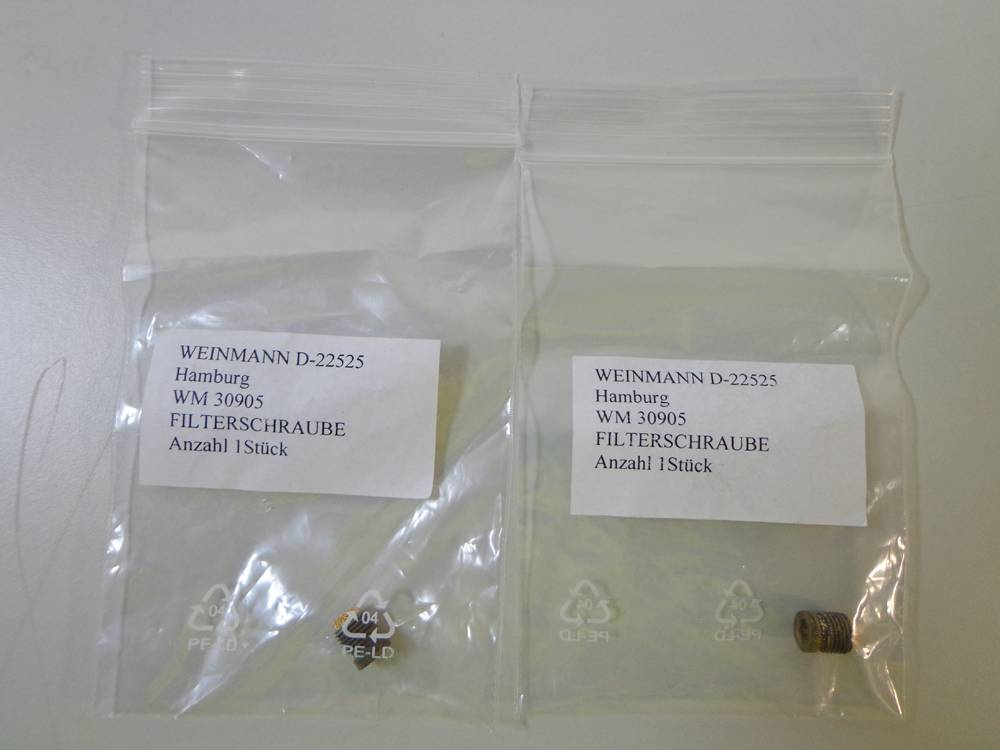 Weinmann D-22525 Filter Screw, 2 pcs.