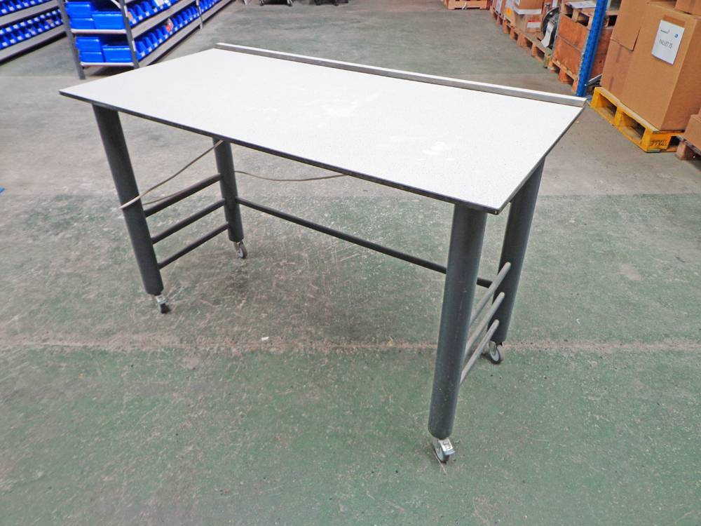 Proprietary Mobile Laboratory Bench with Under Slung Power and with Grey Trespa Type Worktop.