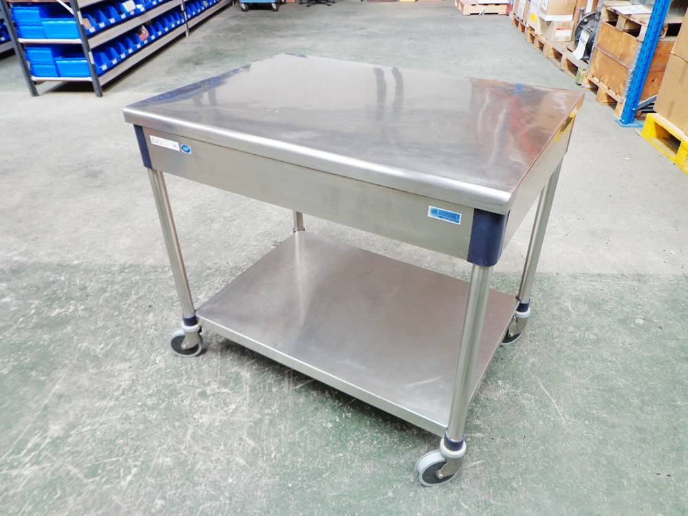 Bonnet Euro Tabl'in Series 200 A6 Hygienic Quality Stainless Steel Mobile Preparation Table.